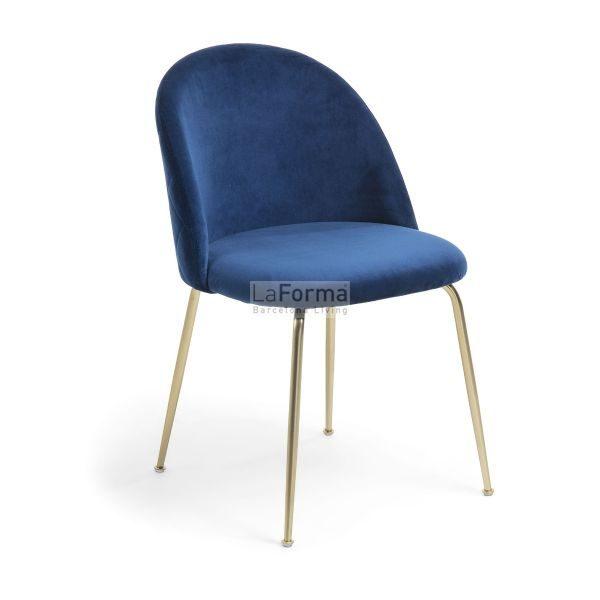mys1 600x600 - Mystere Dining Chair - Navy Blue Velvet/Gold