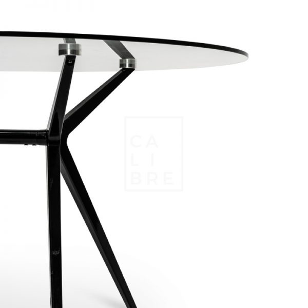 gerald 6 600x600 - Geraldine 1200 Round Glass Top Dining Table - Black