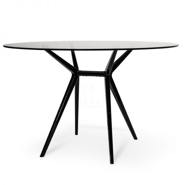 gerald 600x600 - Geraldine 1200 Round Glass Top Dining Table - Black