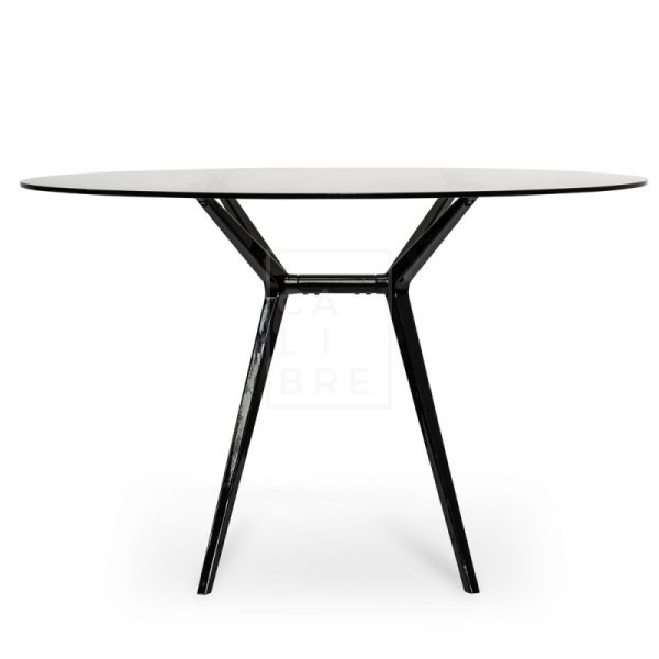 gerald2 600x600 - Geraldine 1200 Round Glass Top Dining Table - Black