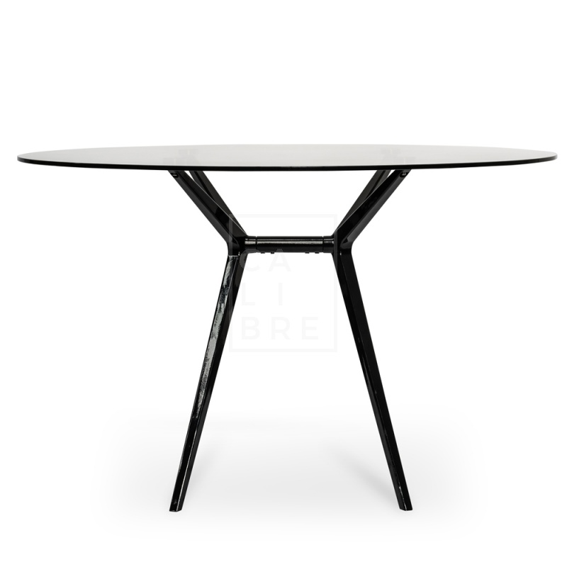 wholesale dealer 8f9bf b2663 Geraldine 1200 Round Glass Top Dining Table - Black