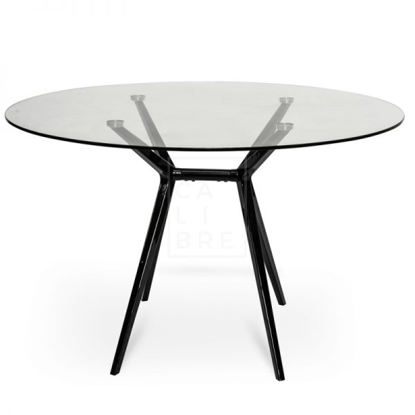 gerald5 600x600 - Geraldine 1200 Round Glass Top Dining Table - Black
