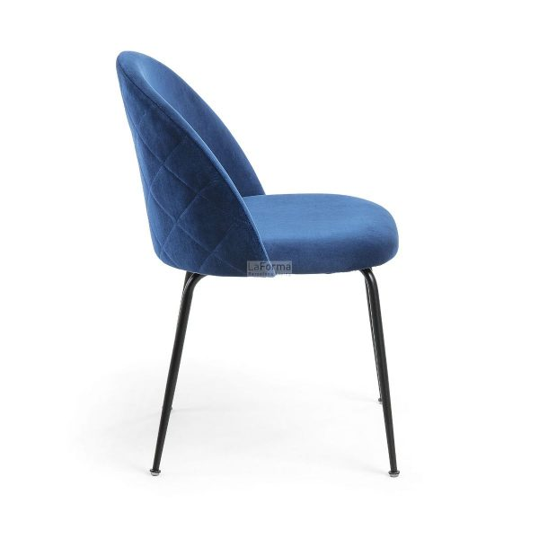 myst6 600x600 - Mystere Dining Chair - Navy Blue Velvet/Black