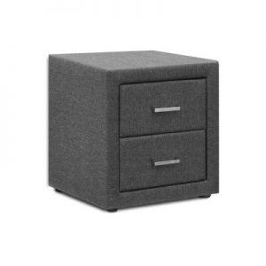 roz12 300x300 - Rozanne Fabric Bedside Table - Grey