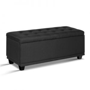 OTM F LINEN GY 00 300x300 - Courtney Fabric Storage Ottoman - Charcoal