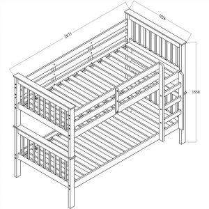 Monza Single Walnut 4 300x300 - Monza Single Bunk Bed - White