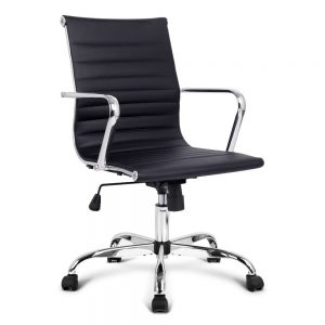 OCHAIR KD 8147 BK 00 300x300 - Replica Eames PU Leather Low Back Office Chair - Black