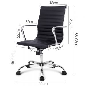OCHAIR KD 8147 BK 01 300x300 - Replica Eames PU Leather Low Back Office Chair - Black