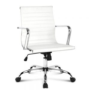 OCHAIR KD 8147 WH 00 300x300 - Replica Eames PU Leather Low Back Office Chair - White