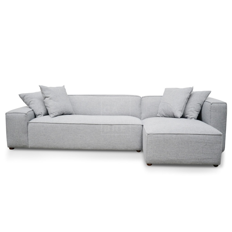 Jason 2 Seater Right Chaise Sofa - Cement Grey