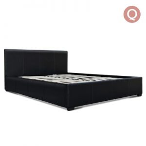 BFRAME E NINO Q BK AB 00 300x300 - Nina Pu Black Leather Gas Lift Bed -Queen