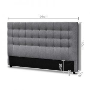 BFRAME E RAFT K LI GY 01 300x300 - Dennis Upholstered Fabric Headboard Grey-King Size