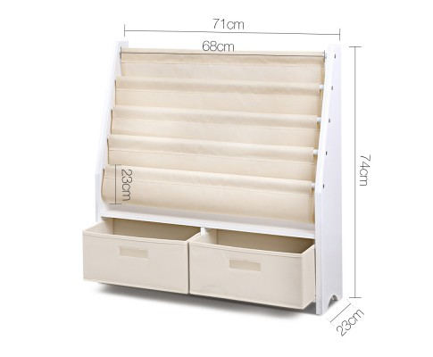 FURNI G TOY111 WH 01 - CHESTER 4 Tier Wooden Kids Bookshelf - White