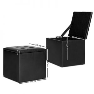 OTM STOR LEA BK 01 300x300 - Ines Storage Cube Black