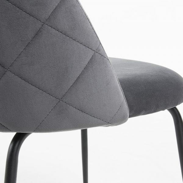 Mystere 8 600x600 - Mystere Dining Chair - Grey Velvet/Black
