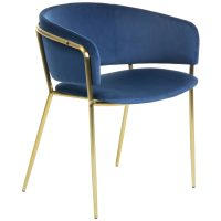 Konnie 8 - Konnie Dining Chair - Blue Velvet/Gold