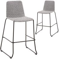 74cm Celia Woven Rope Outdoor Barstools 1 - Meggie Barstool - Light Grey