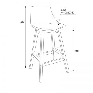 Fox Barstool Measurements 300x300 - Fox Bar Stool - Black