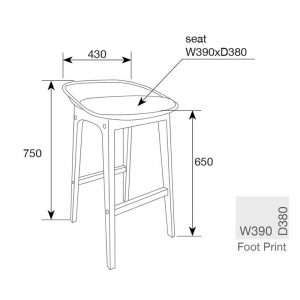 Loire Barstool Measurements 300x300 - Loire Bar Stool - Black
