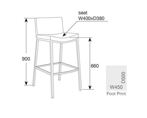 jesse6 500x400 - Jesse Bar Stool - Grey
