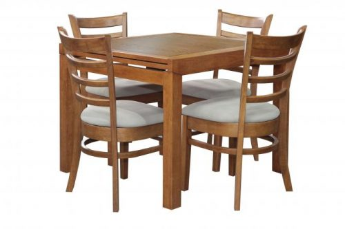 Sorrento Ext Table Mustang Chair Teak 500x333 - Sorrento Extension Table with 4 Mustang Chairs - Teak