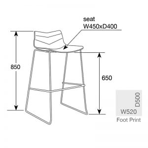 arrow3 300x300 - Arrow Bar Stool - White