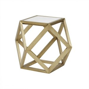 ct taj hex mar brs 2 300x300 - Taj Hexagonal Marble Side Table