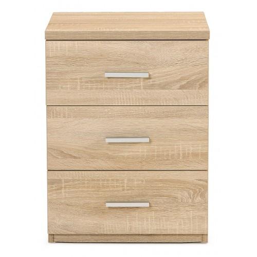 hugo 3dwr bedside 1 - Hugo 3 Drawer Bedside - Natural Oak