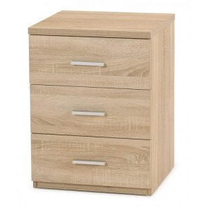 hugo 3dwr bedside 2 300x300 - Hugo 3 Drawer Bedside - Natural Oak