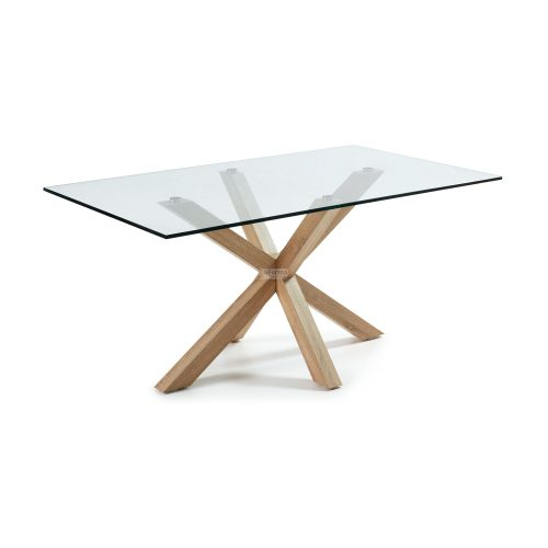 c430c07 3a 500x500 - Arya 2000 Dining Table Glass Top - Timber Look Steel Base