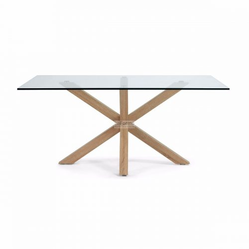 cc0389c07.3b 500x500 - Arya 1500 Dining Table Glass Top - Timber Look Steel Base