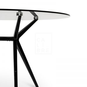 gerald 6 300x300 - Geraldine 1200 Round Glass Top Dining Table - Black