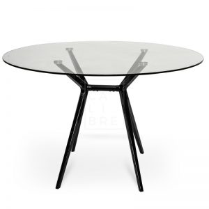 gerald5 300x300 - Geraldine 1200 Round Glass Top Dining Table - Black