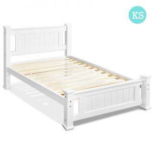 james 300x300 - James King Single Wooden Bed - White
