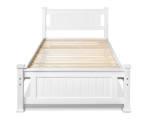 james2 - James King Single Wooden Bed - White