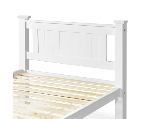 james5 - James King Single Wooden Bed - White