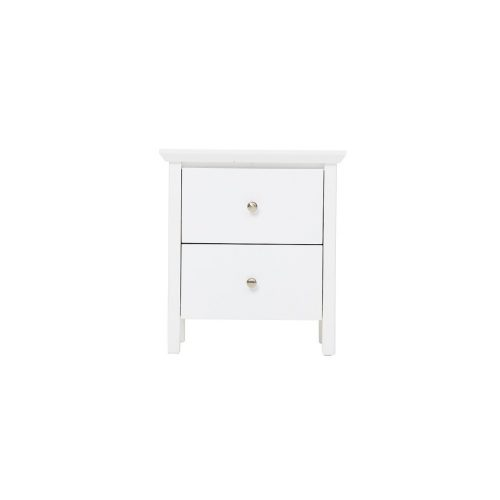 nicky 2 draw bedside contour 500x500 - Nicky 2 Drawer Bedside - White
