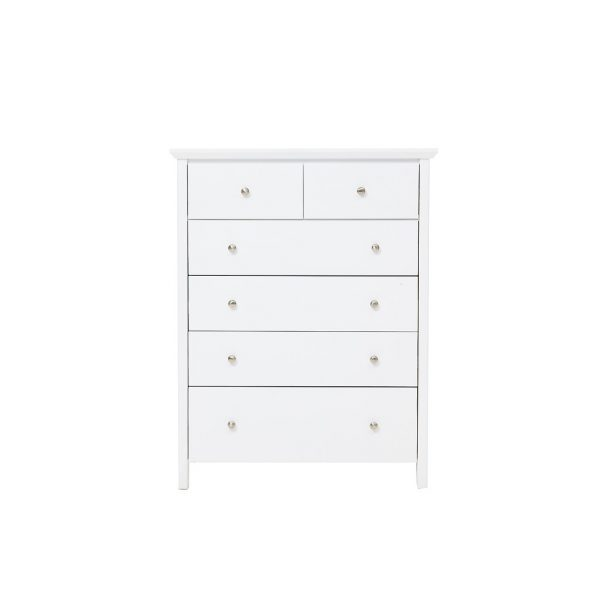 nicky 6 draw tallboy contour 600x600 - Nicky 6 Drawer Tallboy - White