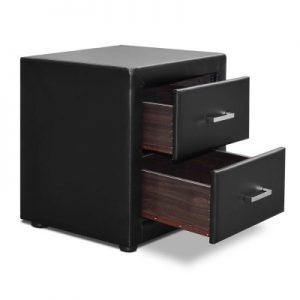 roz5 300x300 - Rozanne PVC Bedside Table - Black