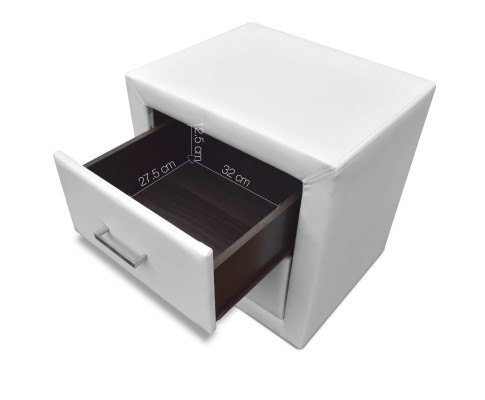 roz8 - Rozanne PVC Bedside Table - White