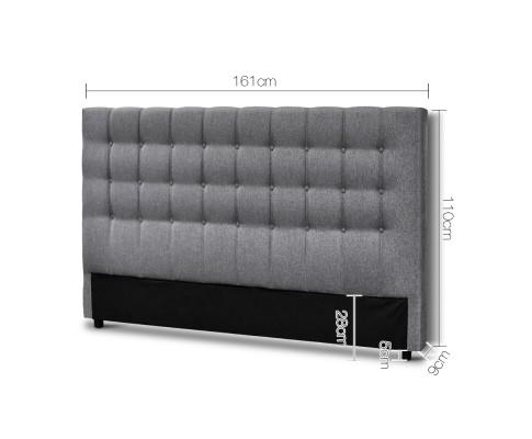 BFRAME E RAFT Q LI GY 01 - Dennis Upholstered Fabric Headboard Grey-Queen Size