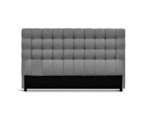 BFRAME E RAFT Q LI GY 02 - Dennis Upholstered Fabric Headboard Grey-Queen Size