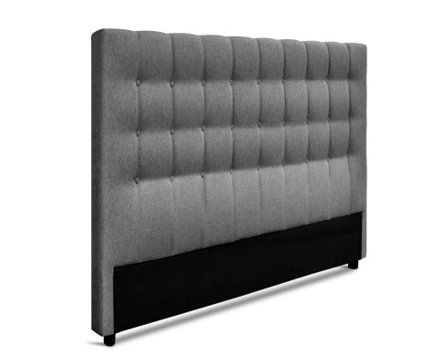 BFRAME E RAFT Q LI GY 03 - Dennis Upholstered Fabric Headboard Grey-Queen Size