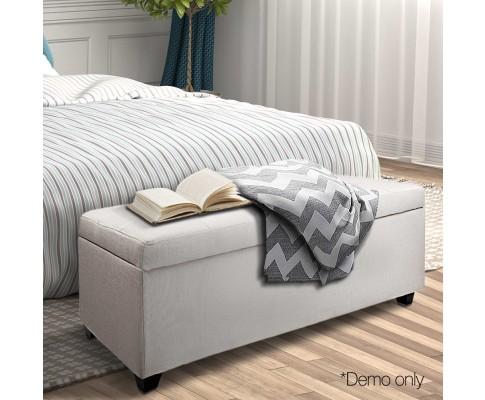 OTM L2 LINEN BEIGE 11 - Courtney Fabric Storage Ottoman - Beige