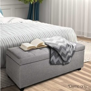 court10 300x300 - Courtney Fabric Storage Ottoman - Light Grey