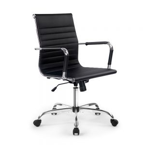 OCHAIR H 8147 BK 00 300x300 - Replica Eames PU Leather Mid Back Office Chair - Black