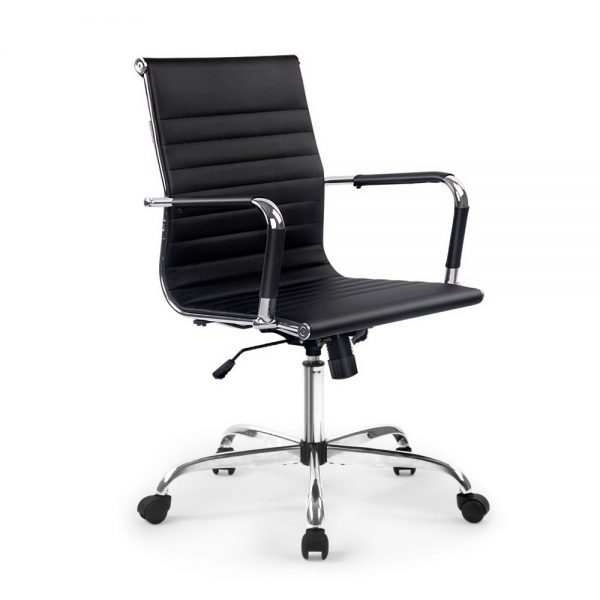 OCHAIR H 8147 BK 00 600x600 - Chaise Replica Eames PU Leather Mid Back Office Chair - Black