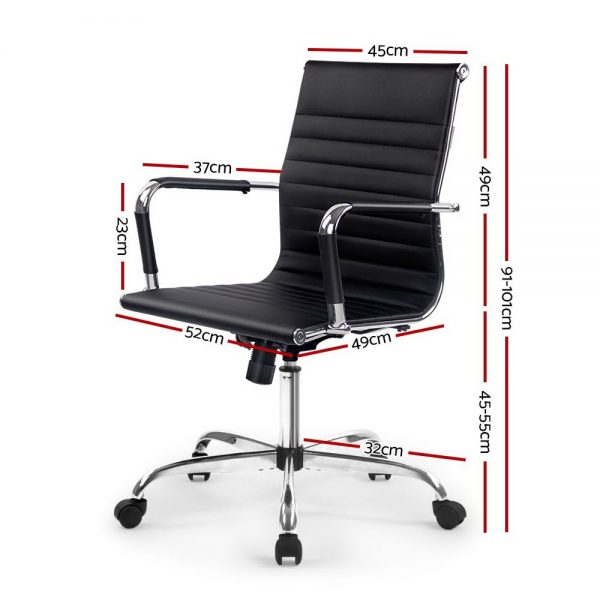 OCHAIR H 8147 BK 01 600x600 - Replica Eames PU Leather Mid Back Office Chair - Black