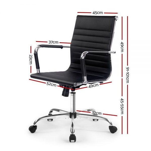 OCHAIR H 8147 BK 01 600x600 - Chaise Replica Eames PU Leather Mid Back Office Chair - Black