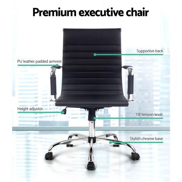 OCHAIR H 8147 BK 02 600x600 - Chaise Replica Eames PU Leather Mid Back Office Chair - Black